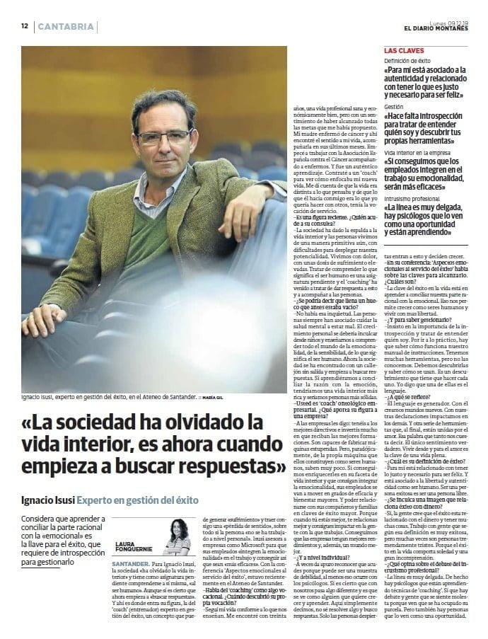 Entrevista en El Diario Montañés - Ignacio Isusi