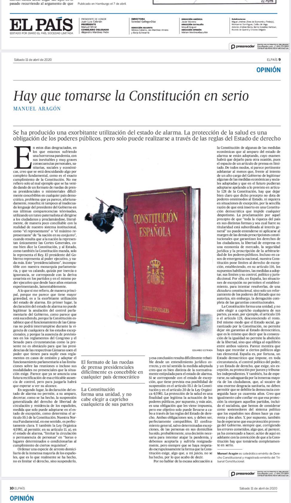 """""""Hay que tomarse la Constitución en serio"""" de MAnuel Aragón - Ignacio Isusi"""